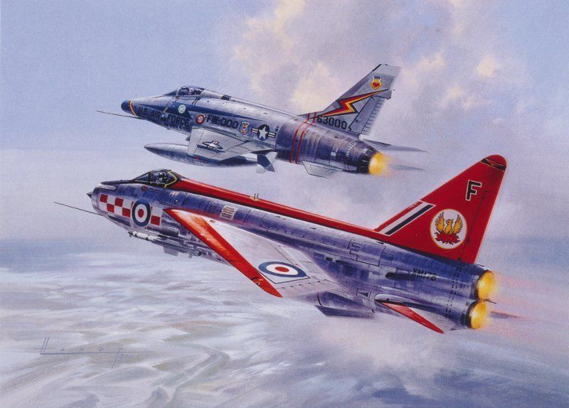 English Electric Lightning F-100 Sabre Aviation Painting Art Print 56 Squadron | eBay