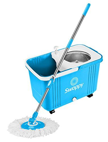 Swoppy Double Spin Mop Deluxe With Stainless Steel Bucket Wringer Two Microfibre Mop Heads Best Spin Mop 360 Spinning Mo Floor Cleaner Steel Bucket Spin Mop