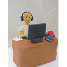 Man At Desk With Computer Edible Cake Topper