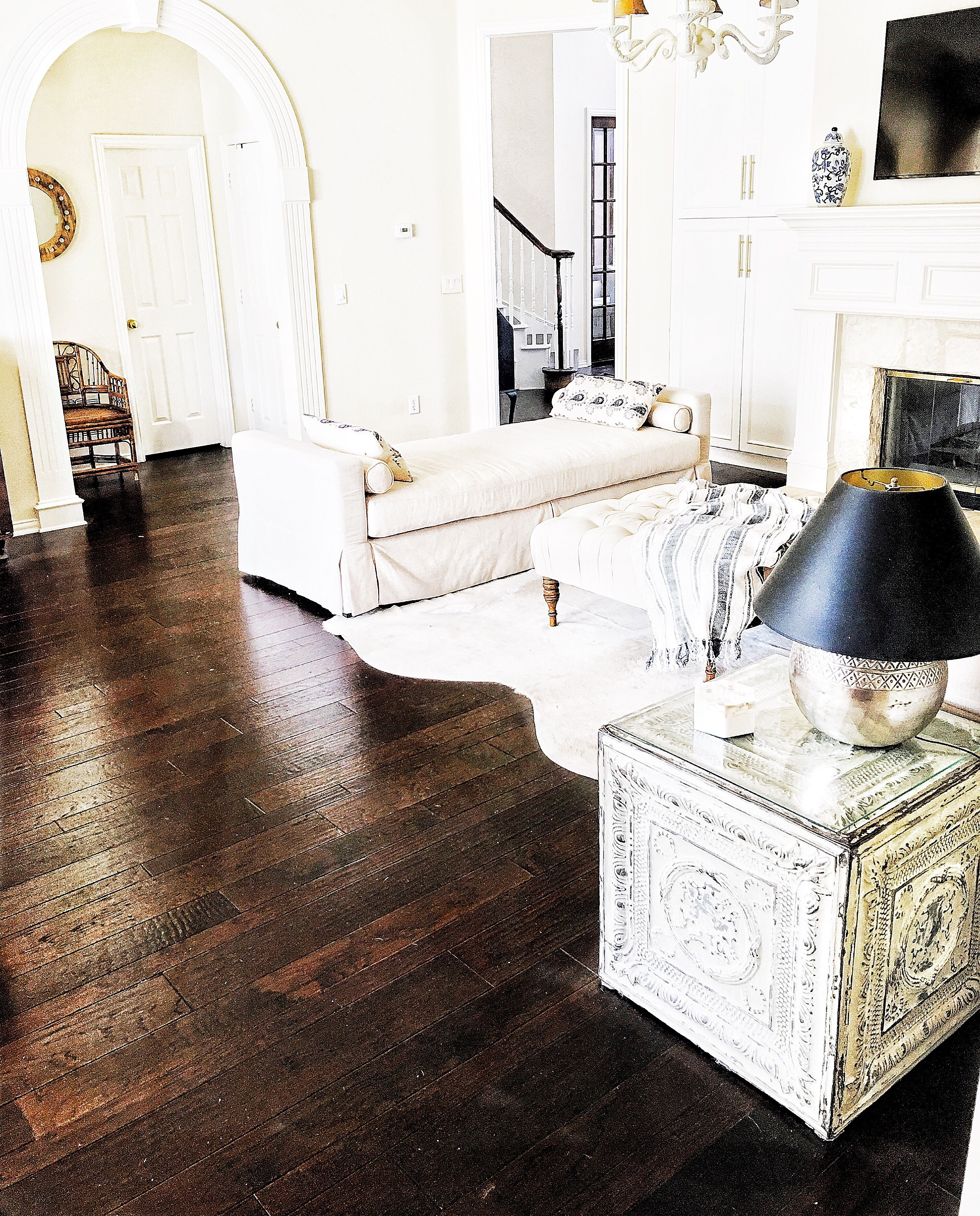 Thriftyniftynest On Instagram Dark Wood Floors White Furniture Daybed Diy End Table Diy Table With Vint White Furniture Furniture Wood Shelves Living Room