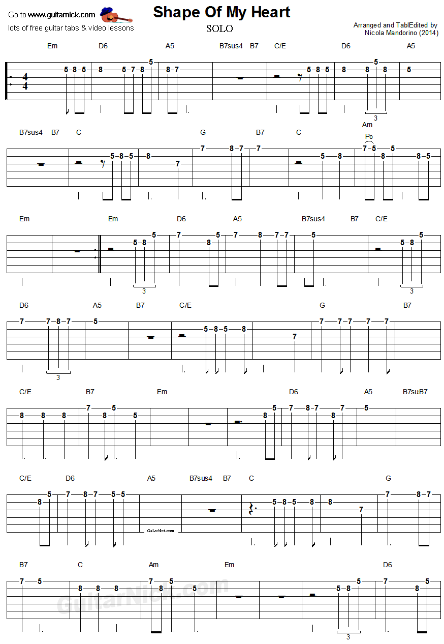Shape Of My Heart Sting Full Guitar Solo With Tab Guitar Lessons Guitar Tabs Bass Guitar Notes