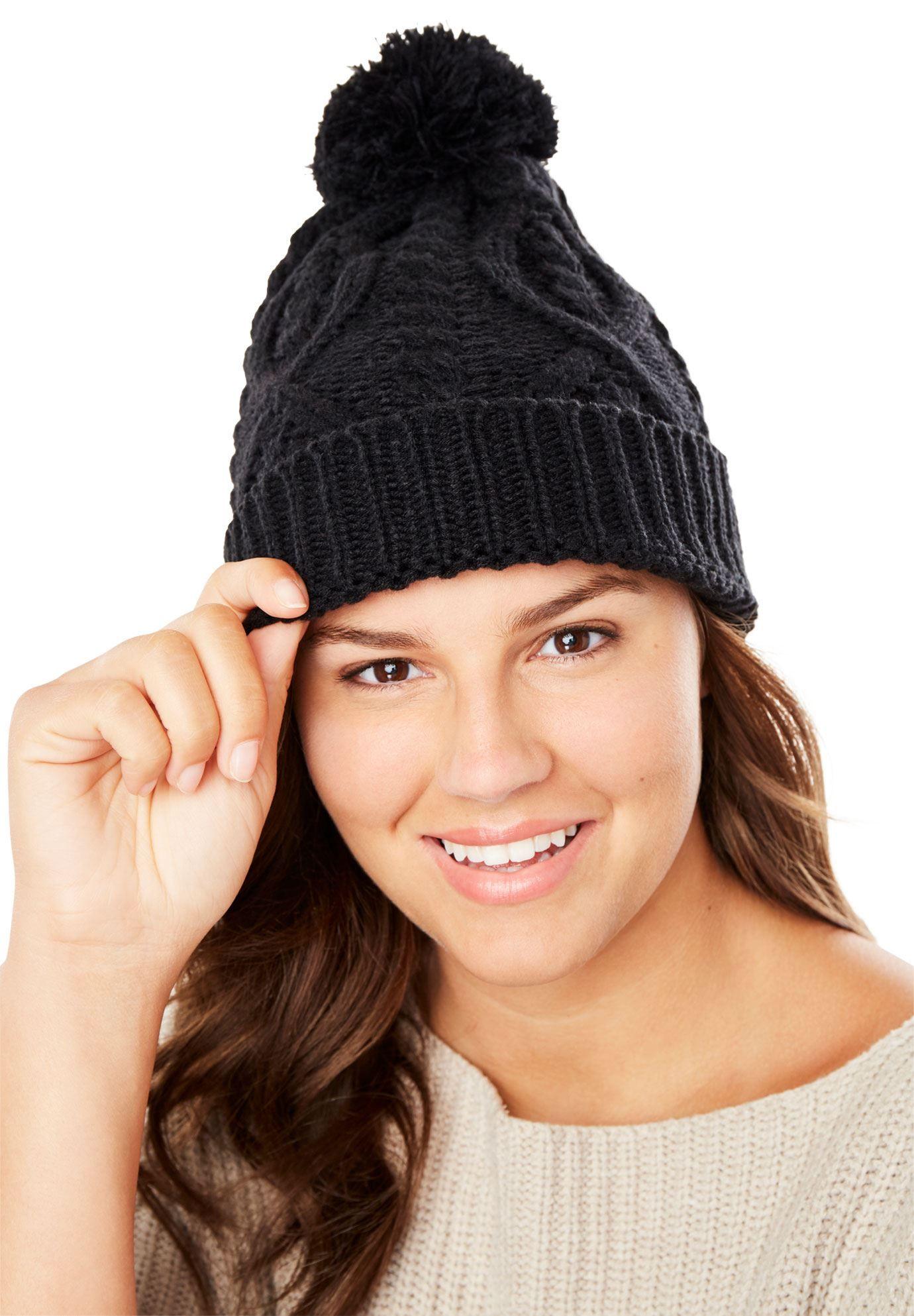 Cable Knit Pom-Pom Beanie - Women s Plus Size Clothing  b660f03733