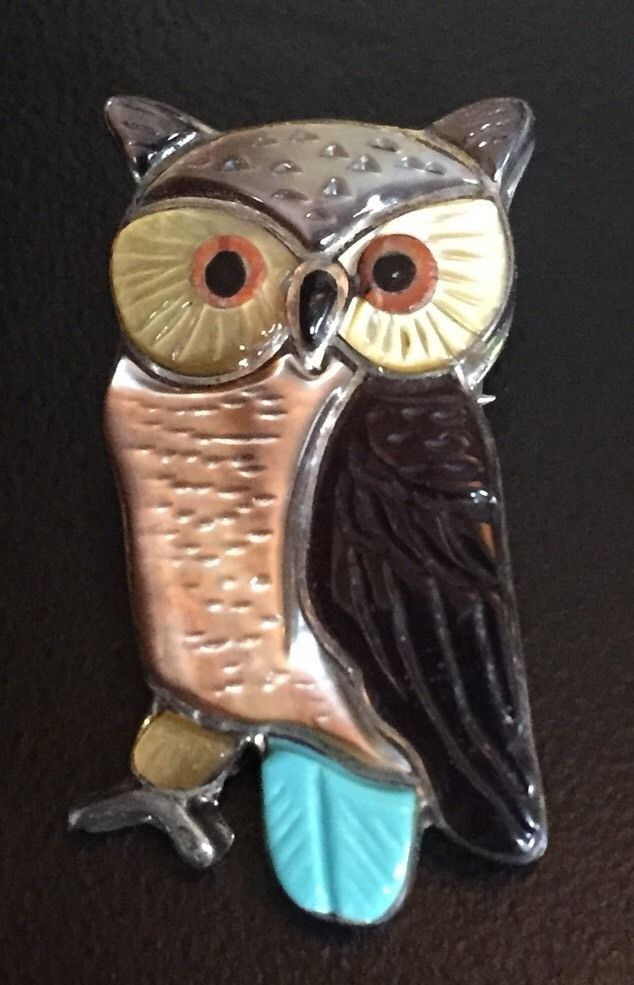 V&S BEUN STERLING SILVER TURQUOISE GLASS STONE OWL NECKLACE PENDANT PIN BROOCH