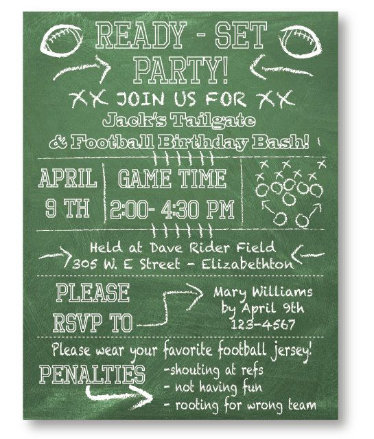 Football Tailgate Party Invitation Set Of 10 With Envelopes