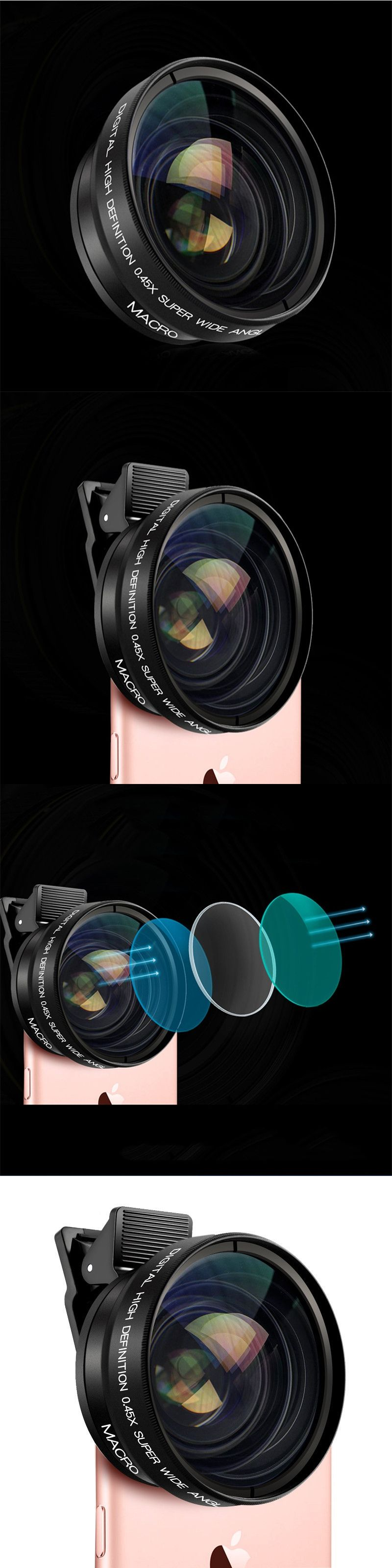 BUFFLE Universal 2 in 1 HD 37mm 0.45X Wide Angle+12.5X Macro Lens With Clip High Definition Mobile Phone Lens for Smartphone