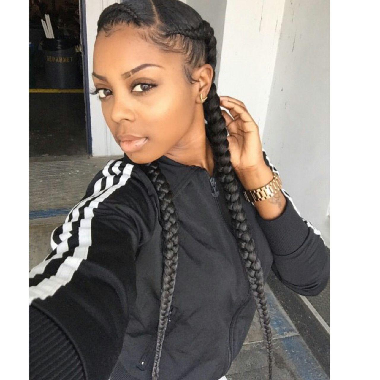 Blackgirlsclub Two Braids Style Two Braids Hairstyle Black Women Two Braid Hairstyles