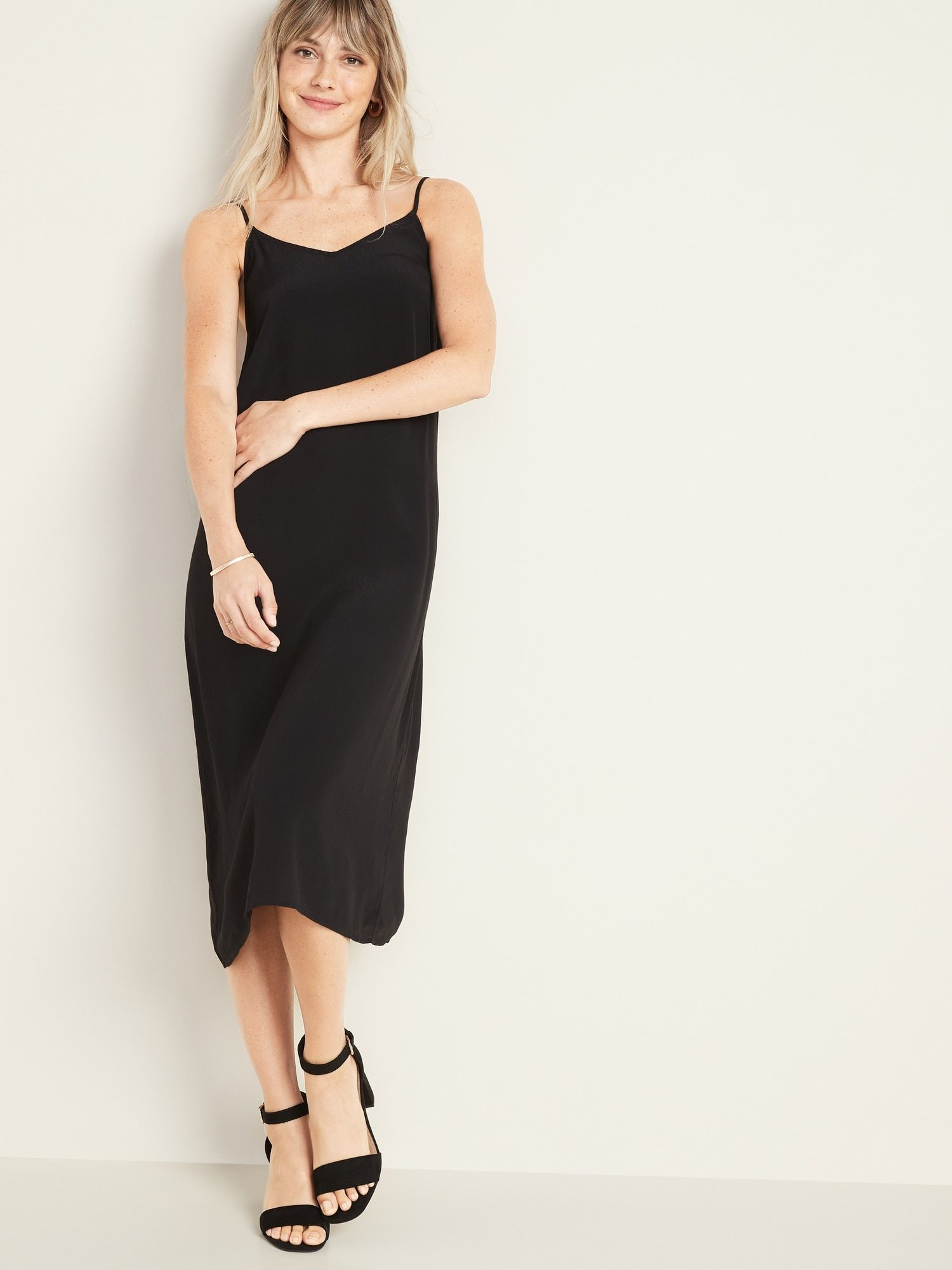 Sleeveless V Neck Midi Slip Dress For Women Old Navy Womens Dresses Slip Dress Fashion [ 2000 x 1500 Pixel ]