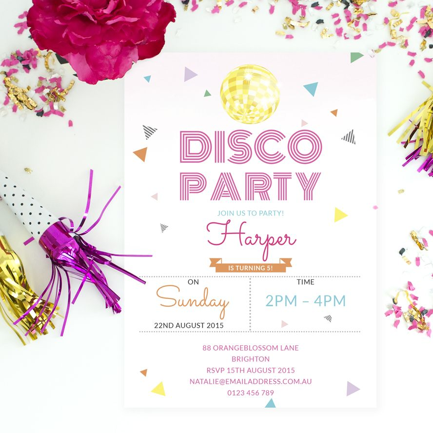 Personalised disco party invites with confetti by Love JK. | Party ...