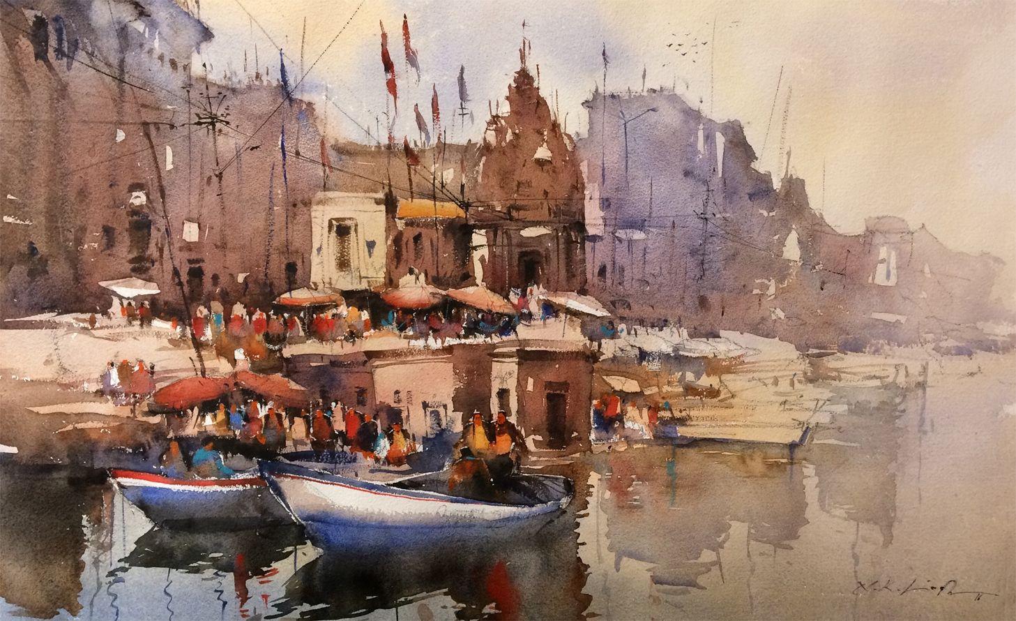 Original watercolor art for sale - Indian Watercolor Paintings Of Nitin Singh Online Art Gallery Original Art For Sale