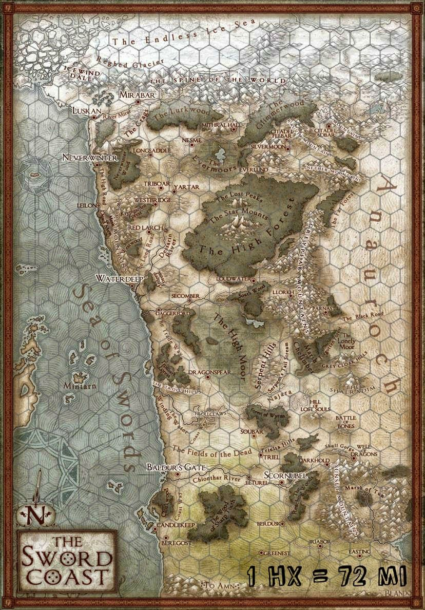My Realms: A New Map of the Sword Coast - UPDATE Hex Map! | RPG maps ...