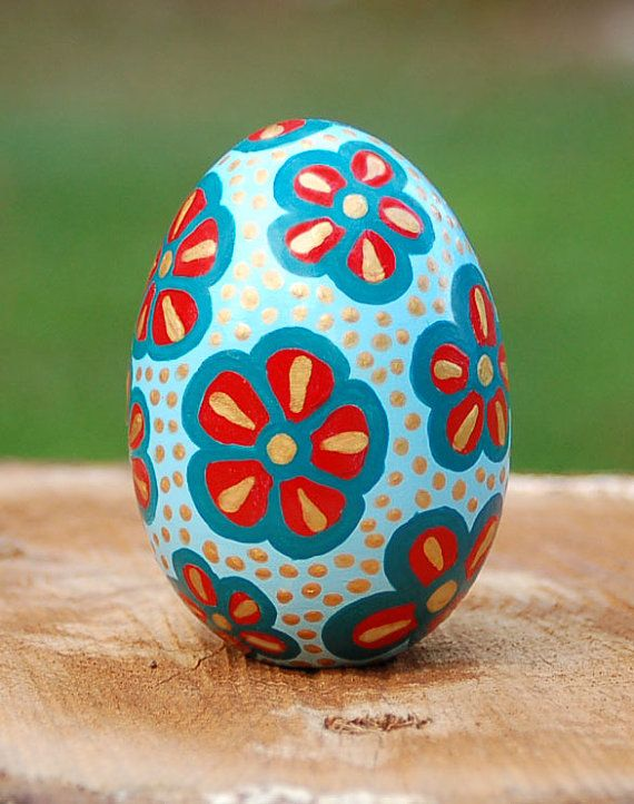 Ceramic Egg With Flowers Hand Painted In Light Blue Teal Red And Gold Decorative Christmas Easter Home Gift