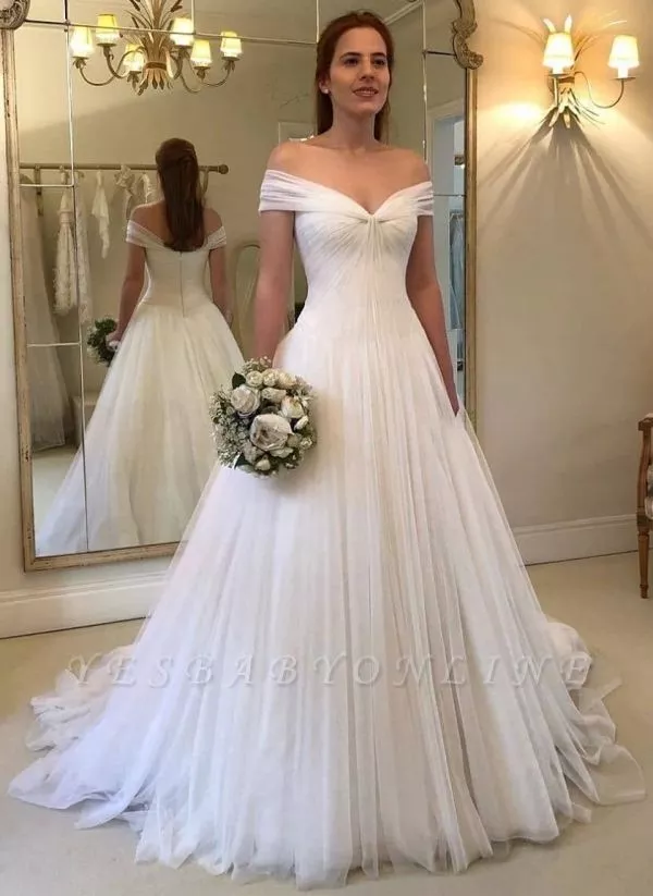 Simple A Line Off The Shoulder Wedding Dresses Ruched Tulle Bridal Gowns Bridal Dresses Bridal Dresses Uk Cheap Wedding Dress
