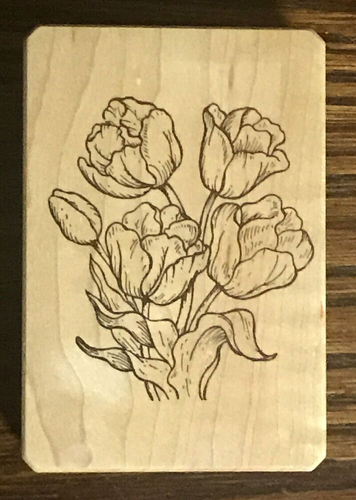 Wood Mounted Tulip Rubber Stamp