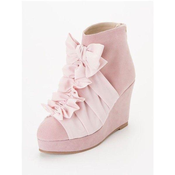 【楽天市場】【送料無料】[シフォンフリルリボンウェッジショートブーツ P  ]【H-3】◆入荷済:夢展望楽天市場店 found on Polyvore featuring shoes