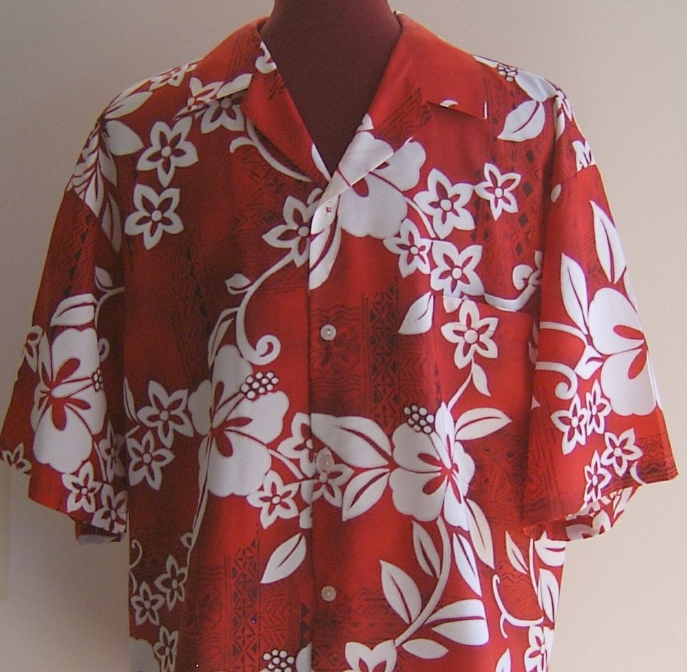 a3a3f69a34 Hilo Hattie Hawaiian Shirt Mens L Original Hawaii Camp Tropical Red ...