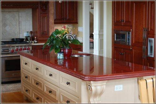 Kitchen Red Granite Countertop Increase Elegant Impressions Coupled With Classic Kitch Red Granite Countertops Granite Countertops Kitchen Kitchen Countertops