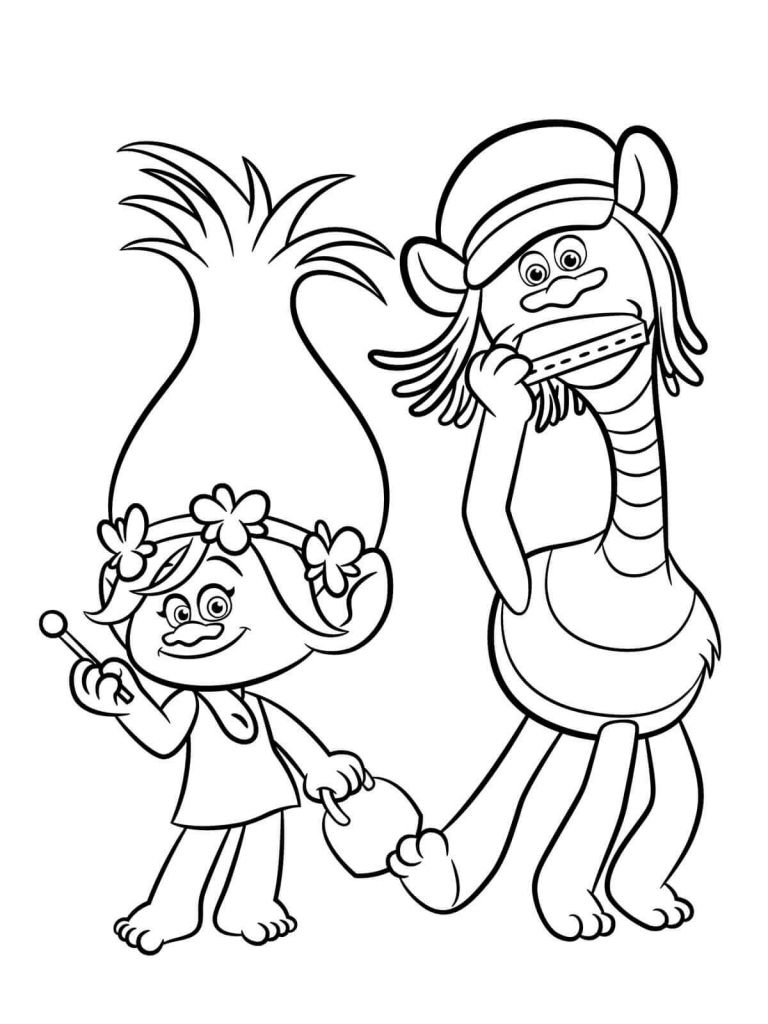 Cooper And Poppy Trolls Movie Coloring Page Poppy Coloring Page