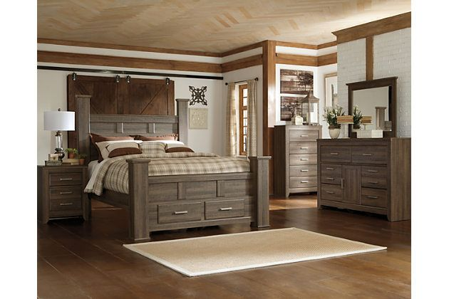 Dark Brown Juararo Queen Poster Bed with Storage View 3 Kitchen - Poster Bedroom Sets