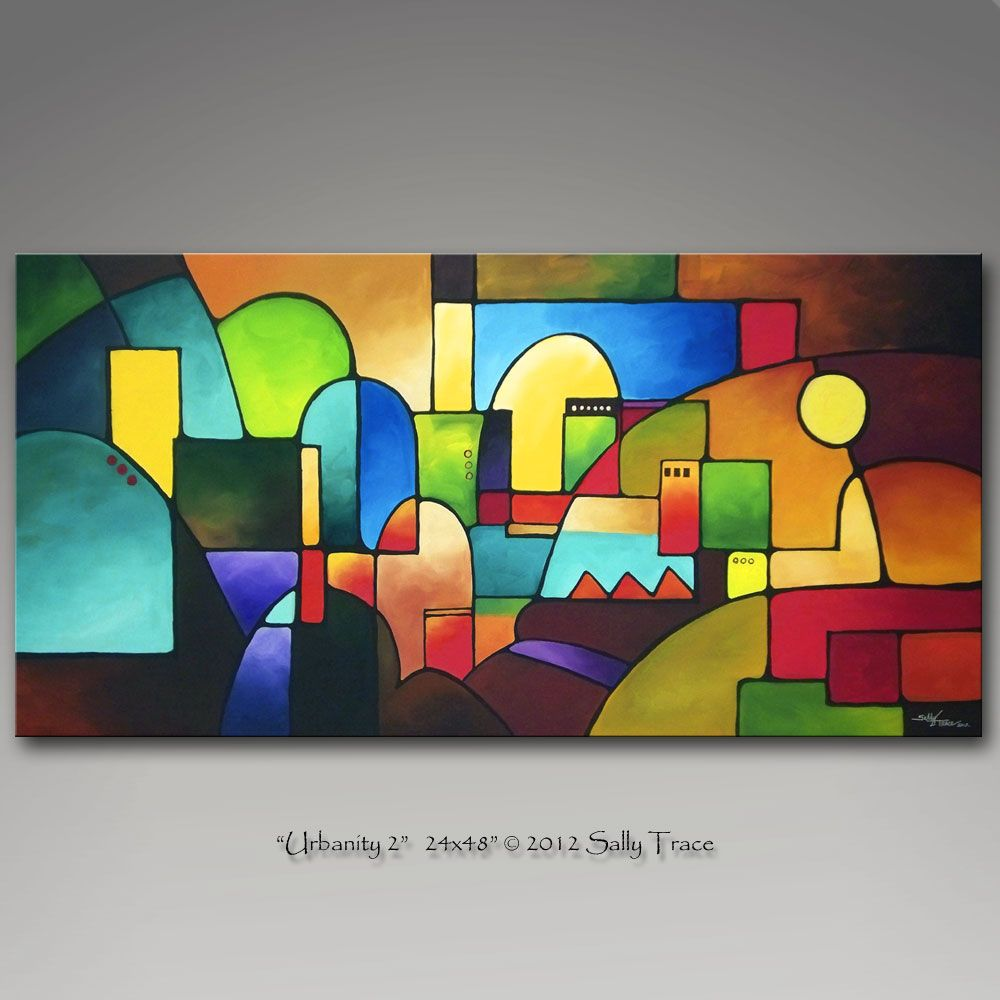 """""""Urbanity 2"""" 24x48"""" One of my geometric paintings suggesting landscapes...this…"""