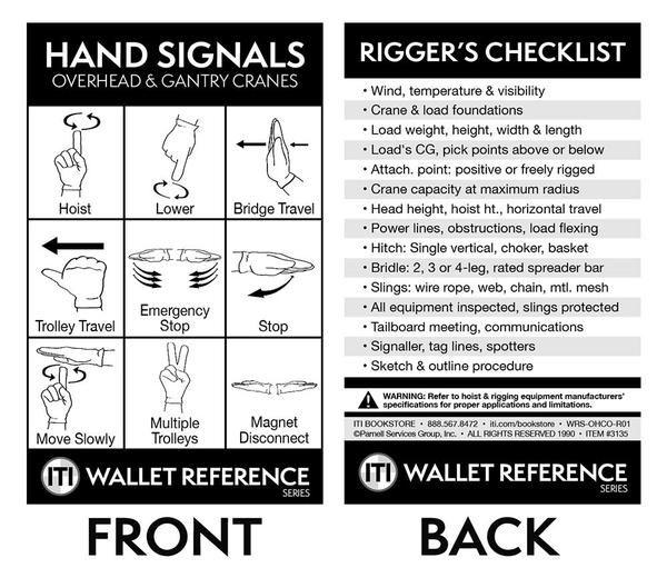Overhead & Gantry Crane Hand Signal Cards (Wallet Size) | Card ...