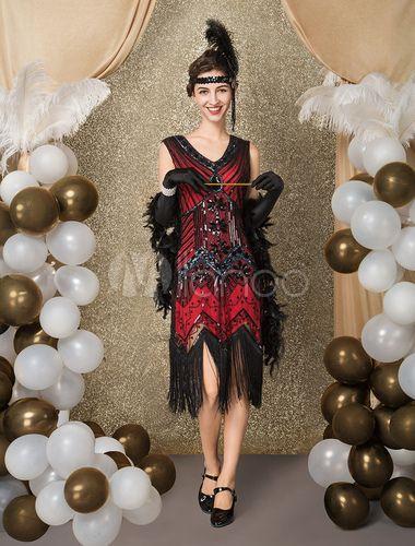 Vestido de Great Gatsby Flapper Costume das mulheres vintage de 1920 com  borlas lantejoulas com lantejoulas 82bab03c8ed3