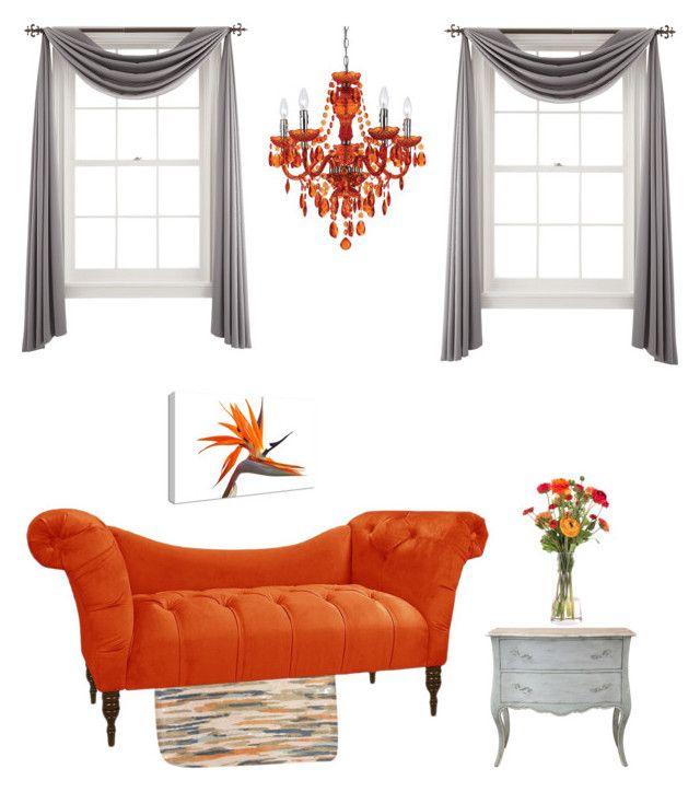 """Orange & gray"" by idealife4u on Polyvore featuring interior, interiors, interior design, home, home decor, interior decorating, Liz Claiborne, Jaipur, AF Lighting and Universal Lighting and Decor"