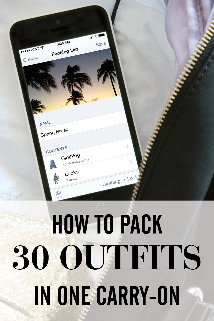 How I fit 30 outfits in my carry-on using Stylebook - see my packing checklist, folding techniques, outfits and travel tips.