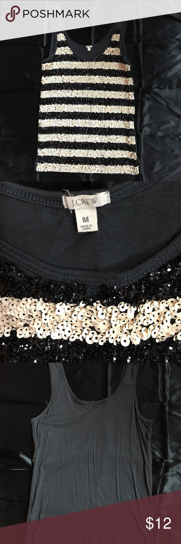 J Crew Black & Ivory Sequined Tank Size Medium J Crew sequined tank size medium. Sequins are only on front of tank.  Open to offers J. Crew Tops Tank Tops