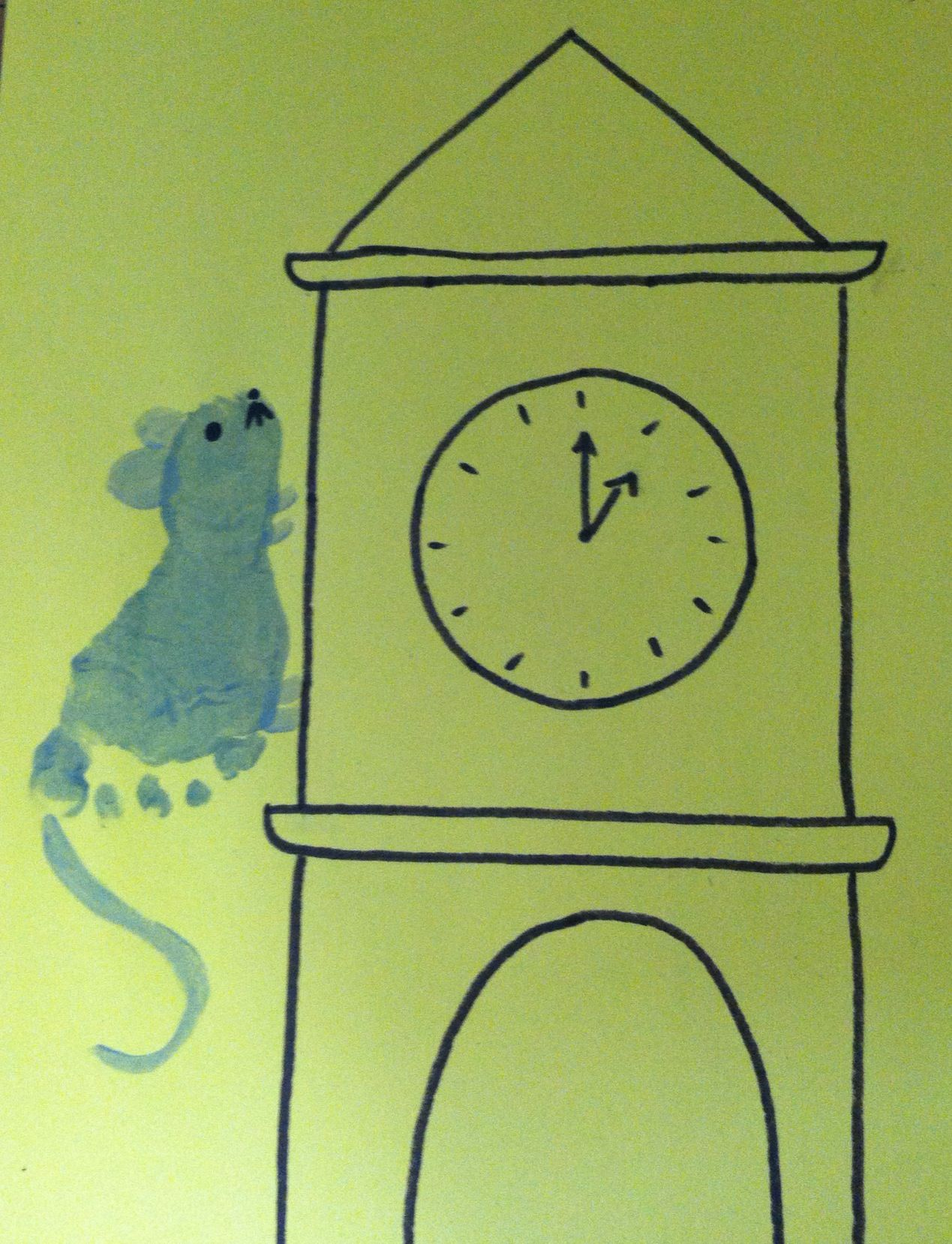 Foot-Print Nursery Rhyme Art - Hickory Dickory Dock | Footprint and ...