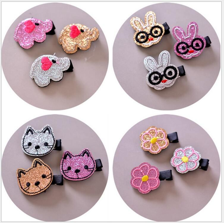 3PCS Embroidery cartoon animal hair clips cute cat rabbit elephone flower hairpin kids hair accessories child barrette J103 //Price: $8.99 & FREE Shipping //     #baby