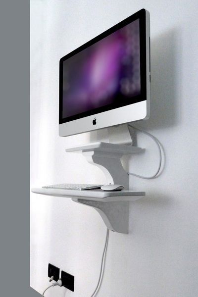 Wall Mount For Apple Imac 27 Inch On White Wall Very Simple Imac Desk Imac Desk Setup Wall Mounted Desk