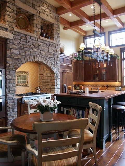 I love stone, wood, and iron together, and I love that ceiling!