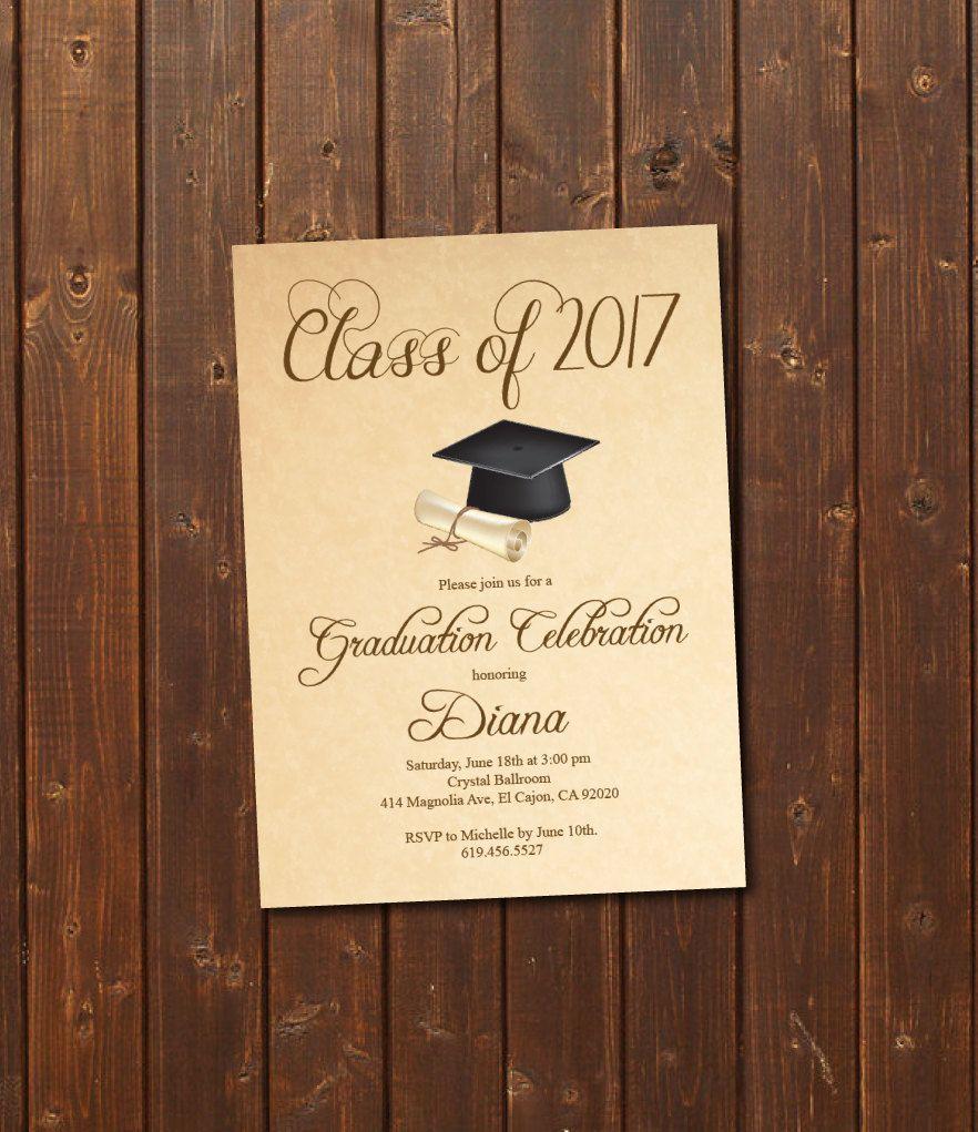 class of 2017 high school college graduation invitation card