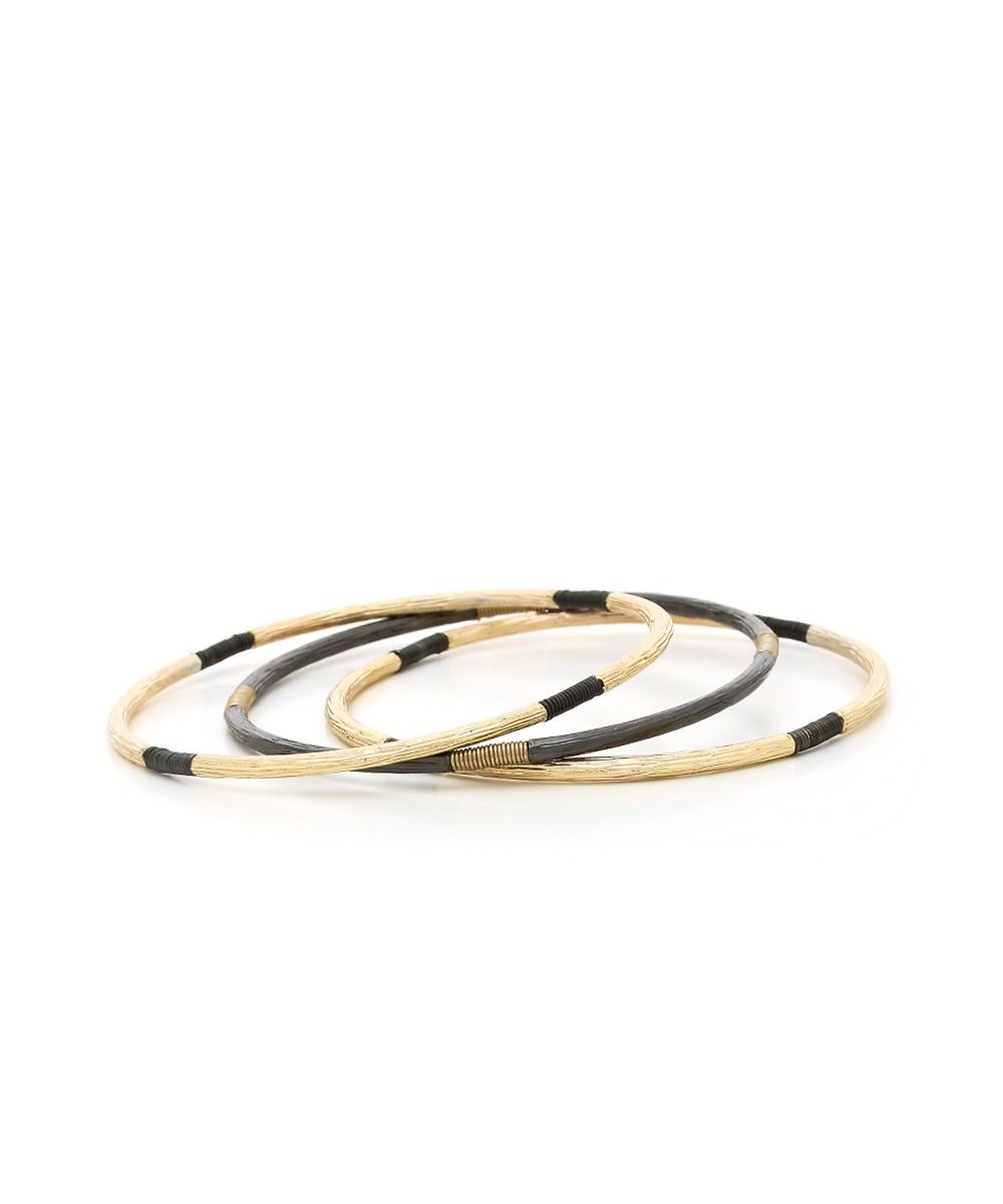 Simply Armored Bangle Set - Gold and Hematite