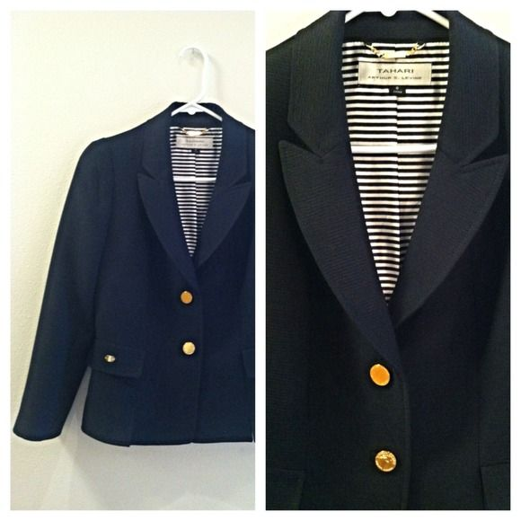 "Selling this ""Tahari Nautical Blazer"" in my Poshmark closet! Barely worn, only $30. My username is: kayleigh819. #shopmycloset #poshmark #fashion #shopping #style #forsale #Tahari #Jackets & Blazers"