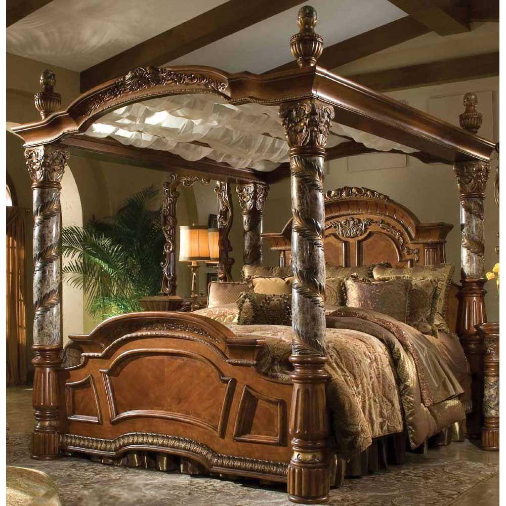 AICO Villa Valencia King Canopy Bed AI-72100EK-55 $7093.00 & AICO Villa Valencia King Canopy Bed AI-72100EK-55 $7093.00 | Tommy ...