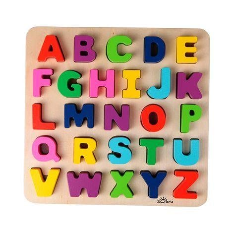 solini 27-tlg. holzpuzzle abc buchstaben online kaufen | buchstaben puzzle, abc buchstaben und