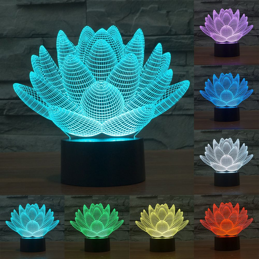 7 Color Lotus 3d Lamp Led Lamp Lotus And Night Night