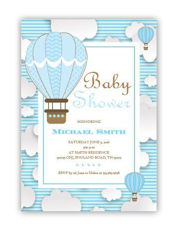 Hot Air balloon Baby Shower invitation, digital baby ...