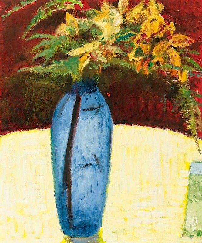 AMIET, CUNO Solothurn 1868 - 1961 Oschwand - Stillleben mit Lilien und Farn in blauer Vase.