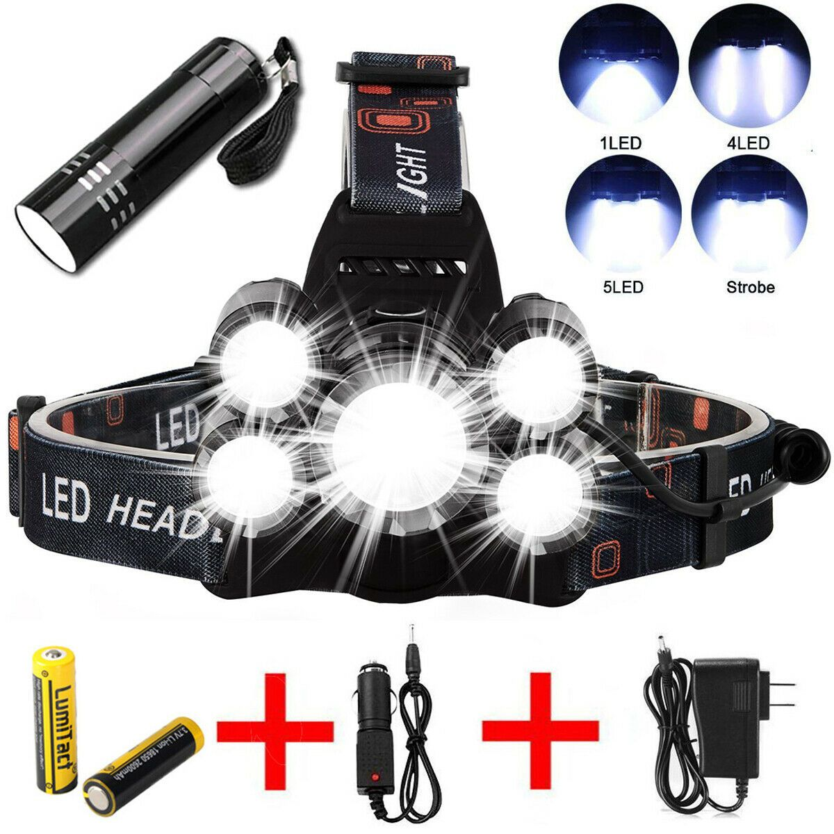 200000LM Rechargeable 9 LED Headlamp Headlight Flashlight Head Light Lamp Torch