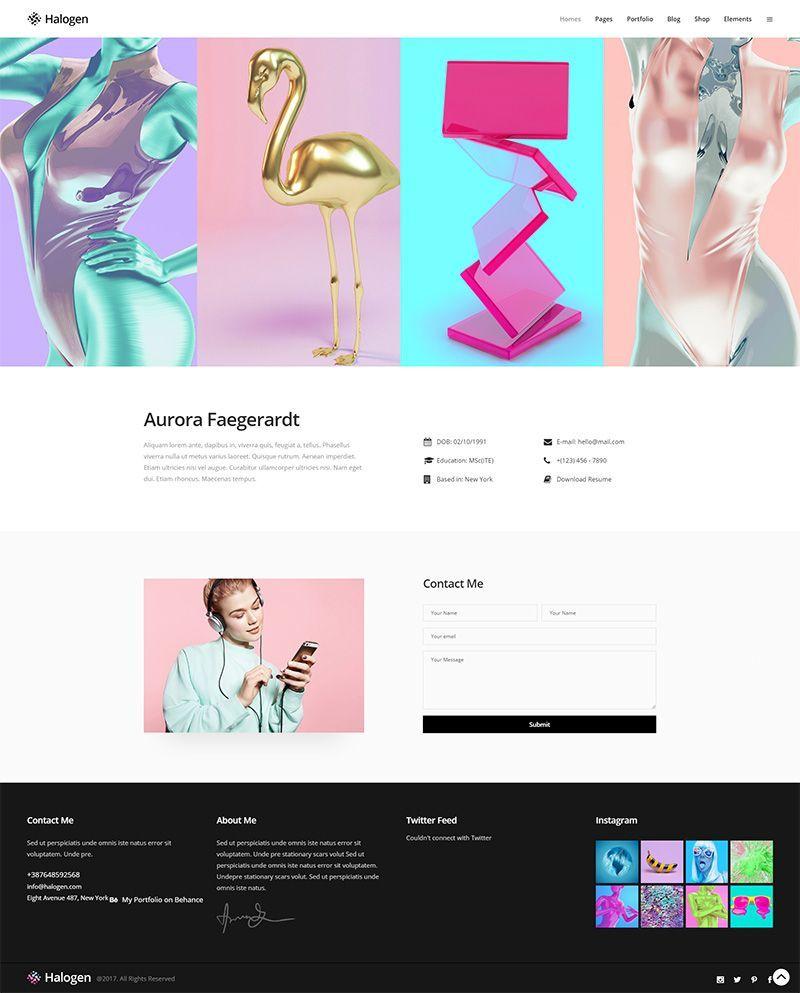 Be distinctive and set the standards with Halogen, a stellar, innovative portfolio WordPress theme.  #wordpress #webdesign #design #webdesigntrends #designer #gradient #elegant #creative #lovewordpress