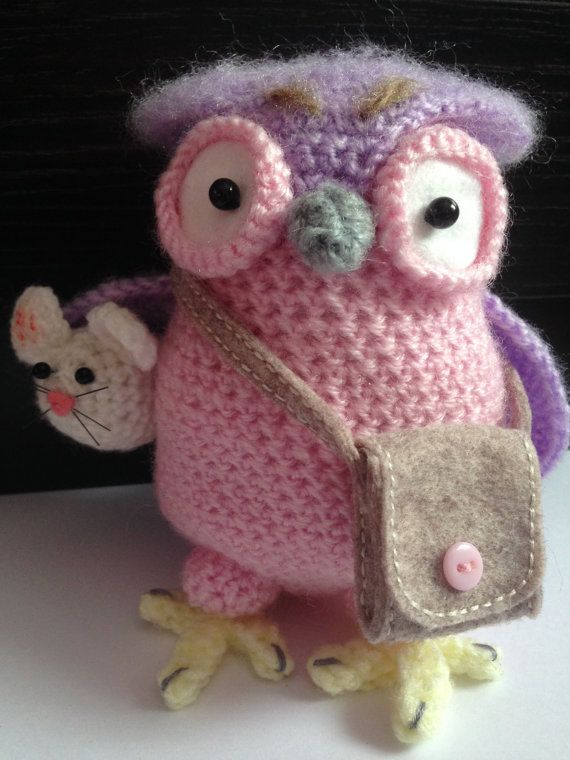 Crochet Owl With A Mouse Amigurumi Stuffed Animal Pink by BABUKO