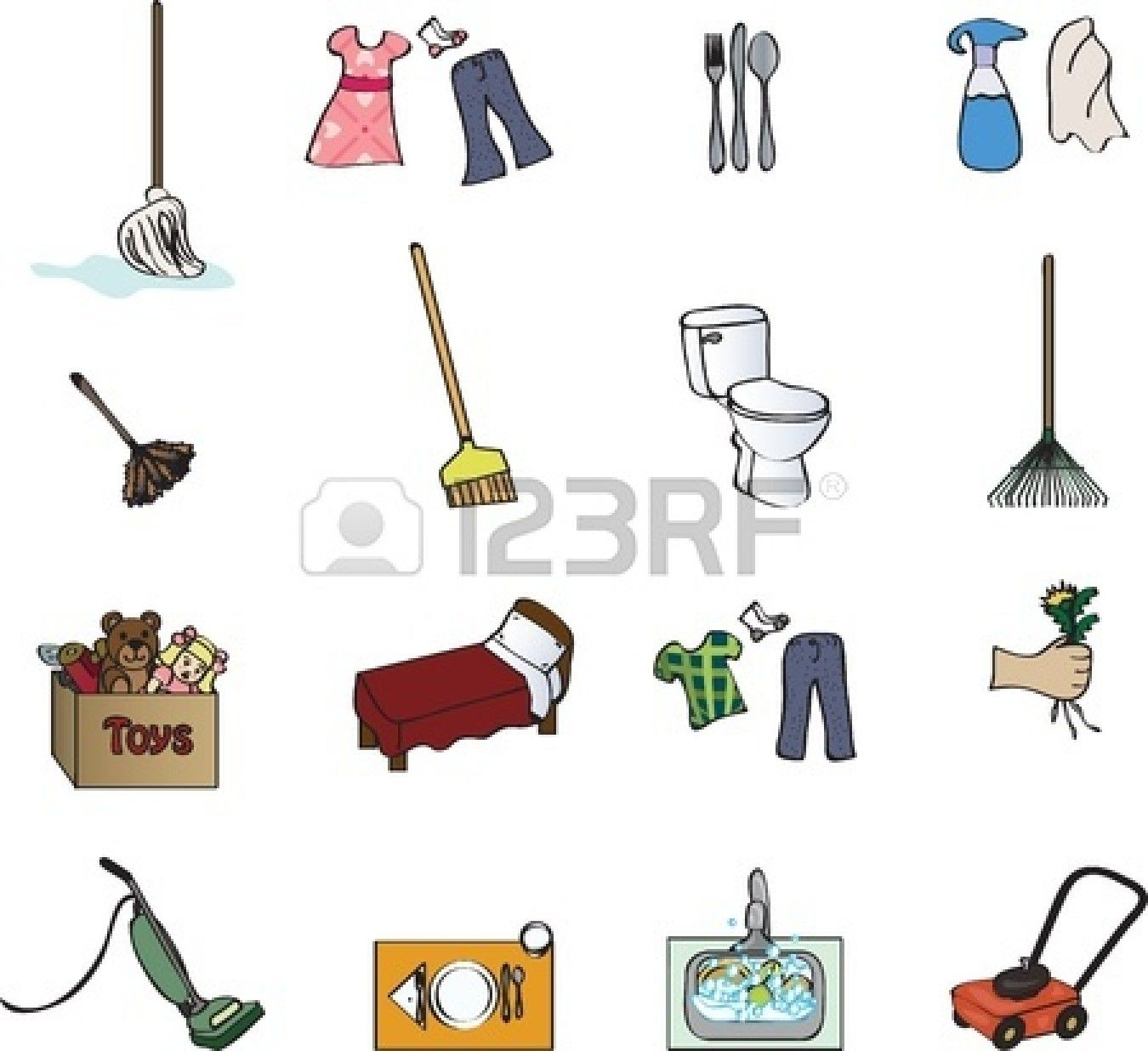 hight resolution of icons for a chore chart stock vector