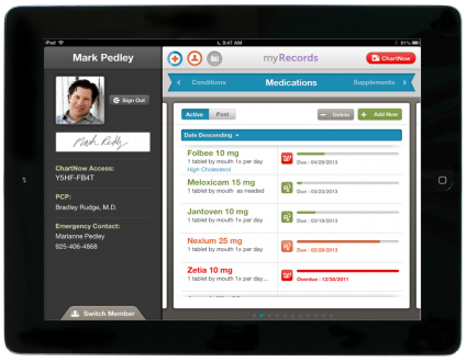 The medications screen in Healthspek!  Healthspek is an iPad application that allows patients to manage and maintain their personal health record.  Take control of your health today! Join the e-Patient revolution and download Healthspek now! Own your chart, know your options, achieve better health.          https://itunes.apple.com/us/app/healthspek/id576488481?mt=8        Follow us on Facebook! Http://www.facebook.com/healthspekapp       Check Out Our Website! http://www.healthspek.com