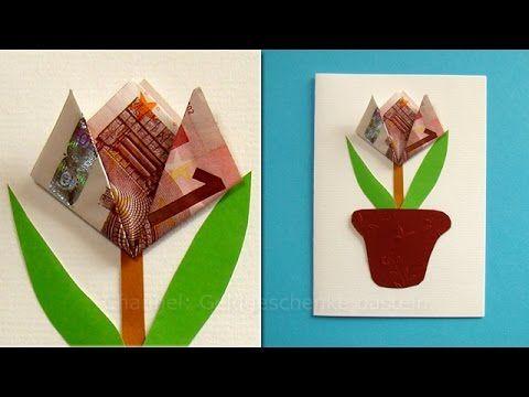 Geldscheine Falten Blume Einfache Geldgeschenke Basteln Blute