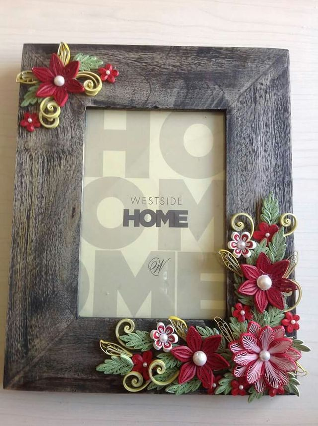 Flower picture frames frame quilling cards paper flowers also best images cadre photo do crafts rh pinterest