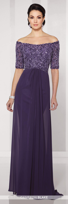 Off-the-shoulder chiffon A-line gown | Vestiditos, Vestidos de ...