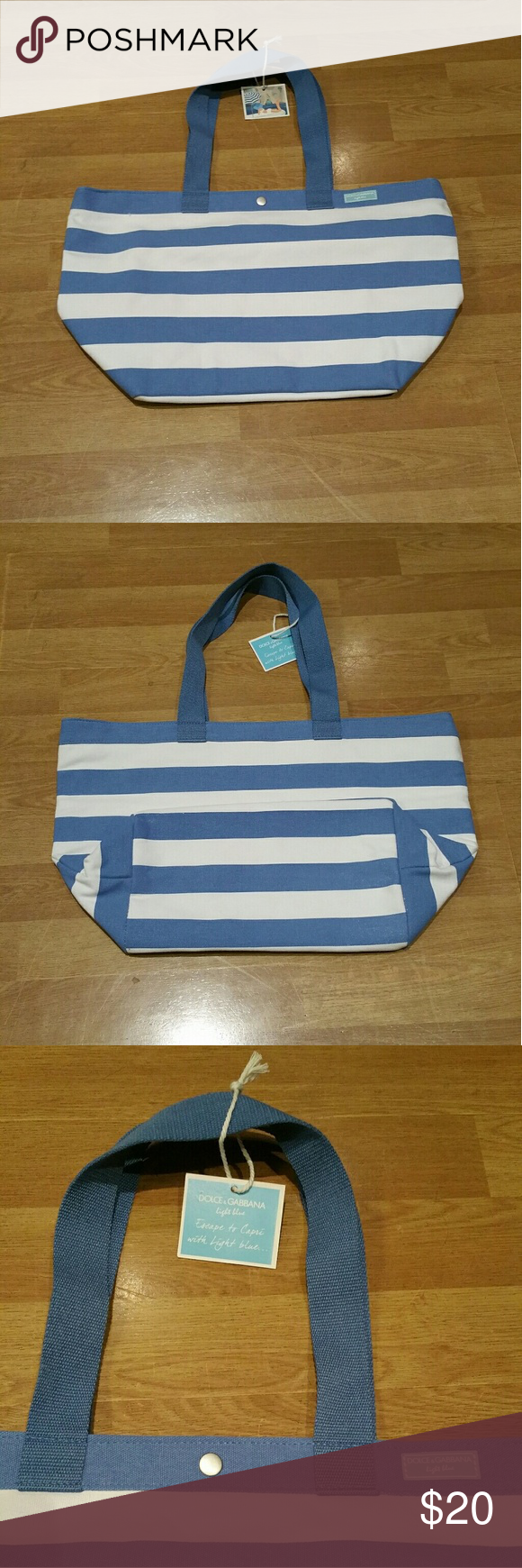 Dolce   Gabbana tote bag New. Blue and white striped beach bag tote.  Interior  one big and one small slip in pockets. Dolce   Gabbana Bags Totes 9cbb6a376b