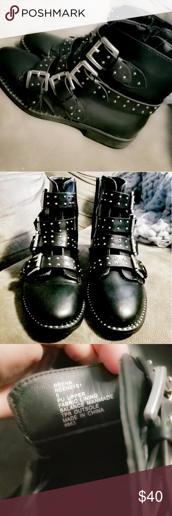 c4a65ea5654 Steve Madden Castro Reena Black Buckle Studs Boots Size 5. Tried on ...